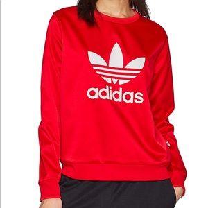 adidas Originals Trefoil Crew Neck Sweater in Red